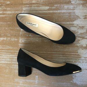 LK Bennet Clemence Black Suede Gold Toe Pumps